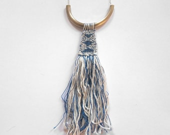 Textile Tapestry Weaving - Woven Pendant - textile necklace - geometric necklace - woven art // HEATHERED INDIGO TAPESTRY
