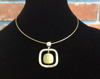 Vintage Brass and Steel Pendant on Short Chain Necklace, Square Pendant Necklace, Short Necklace, Geometrical Jewellery, Square Jewelry