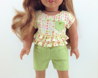 """18T Sweeet and Sassy - Crop Top, Shorts and Sandals for 18"""" dolls like American Girl (R) Luciana, Lea, Tenney, Grace, McKenna and Kit"""