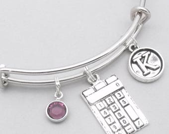 Calculator vintage style initial charm bracelet | maths bracelet | personalised calculator bracelet | calculator jewelry | maths gift