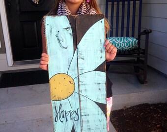 """Happy daisy made on reclaimed wood 12x24"""""""