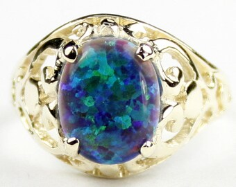 Created Green on Blue Opal, 18KY Gold Ring, R004