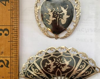 Two brooches in niello silver siam/Thailand   Fan and heart