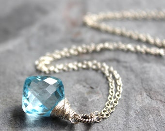 Blue Topaz Necklace Sterling Silver Diamond-Shaped Pendant Briolette Gemstone November Birthstone
