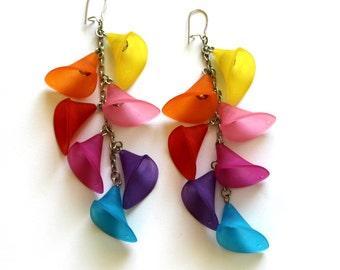Rainbow Earrings, Colorful Earrings, Flower Earrings, Cala Lily Earrings, Summer Earrings, Cascading Multicolor Earrings, Bohemian Earrings