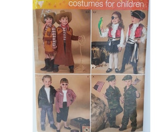 Cowboy / pirate / children/ kids Halloween costume / 2008 sewing pattern, Chest 22 23 24 25 26 27, Size 3 4 5 6 7 8, Simplicity 3997 0533