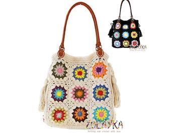 Women large purse boho shoulder bag, large crochet tote bag with leather handles and tassels, large hobo bag, Off white boho shoulder bag