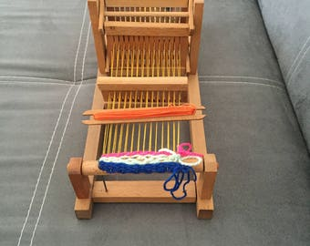 Vintage Weaving Loom, Bulgarian Table Loom, Small Wooden Weaving Loom, Weaving Kit, Lap Loom, Wooden Loom, Kids Weaving Loom