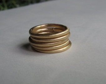 2mm Round Band Stacking Rings matte finish Solid 14k Yellow Gold Solid 18k Gold Solid Sterling Silver Brass Minimal jewelry simple 0053