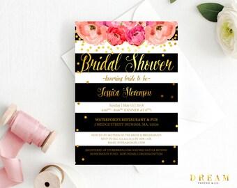 Kate Bridal shower invitation,  Kate pink black ,  bridal shower invitation, Floral invitation  bridal shower Kate bridal shower invitation