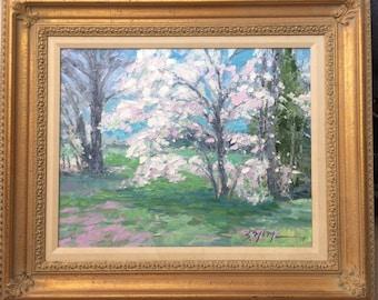 Spring blossoms 16x20 original oil impressionism landscape