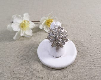Beautiful Vintage Silver Tone Crystal Diamente Rhinestone Costume Adjustable Ring  DL#4029