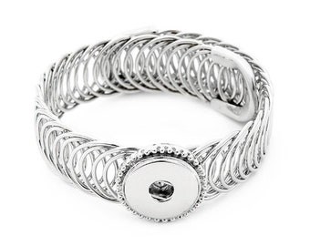 Silver Plated One Snap Wrap Bracelet - Coordinates with 18-20mm Snaps - Ginger Snaps - Magnolia and Vine - GingerSnaps