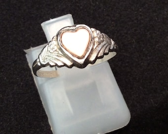 Vintage Kiddie Gem Sterling Silver Mother Of Pearl Heart Shaped Ring, Vintage Pink Heart Shaped Ring