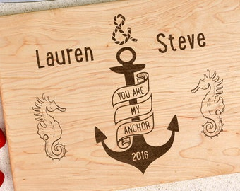 Personalized cutting board, wedding gift, custom cutting board, engraved cutting board, anniversary gift, anchor, narwhals, name and date