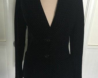 Vintage Anne Klein Quilted Velvet Blazer in Black Designer Clothing Womens Size 8. 1980s Fall Fashion Holiday Wear Mint Condition