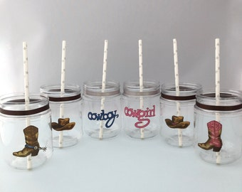 Western Plastic Mason Jars with Cowboy and Cowgirl designs, Treat Jars or Drink Cups, Western Theme Party Supplies
