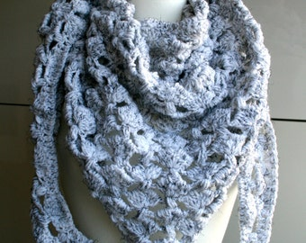 Crochet Pattern, scarf crochet pattern, white winter scarf crochet pattern 204