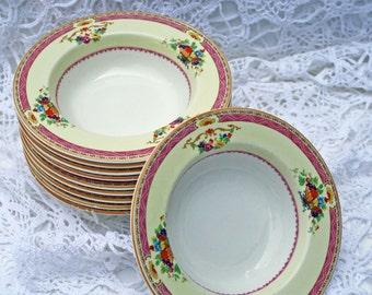 Antique Myott bone china berry bowl, vintage pink berry bowl, English china berry bowl, pink berry bowl