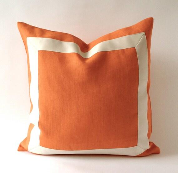 Orange Tangerine Linen Pillow Cover With Off White Grosgrain