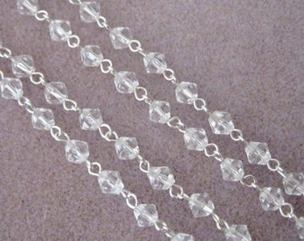 """One Meter 39.5"""" Faceted Clear Bicone Glass 6mm Beaded Rosary Chain Silver 967"""