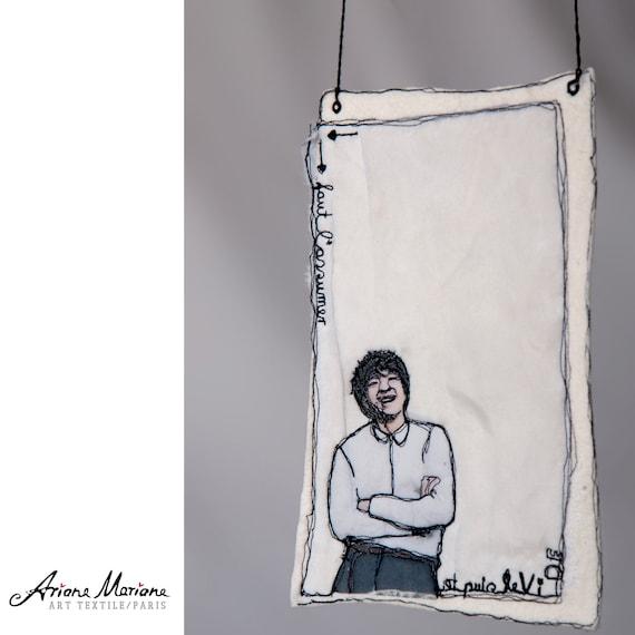 Original Fiber Art, Embroidery Painting, Contemporary Textile art, Felt, Silk, Freehanging Art, Reversible Art