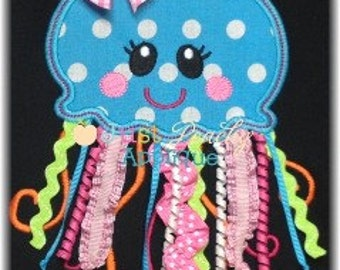 JellyFish 2 with Bow Tackdown Applique Machine Embroidery