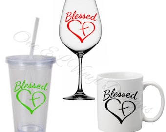 Blessed with Heart Cross - Vinyl Decal for a DIY Wine Glass, Coffee Mug, Tumble and Other Projects...Glassware Not Included