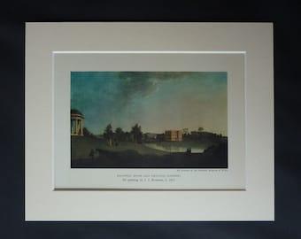 Antique John Inigo Richards Print, Somerset Wall Art, Halswell House, Available Framed, English Picture, Old Landscape Art, Goathurst Gift