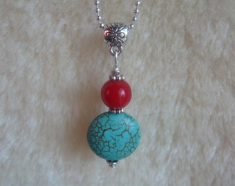 Necklace pendant gemstone TURQUOISE & coral Mineral