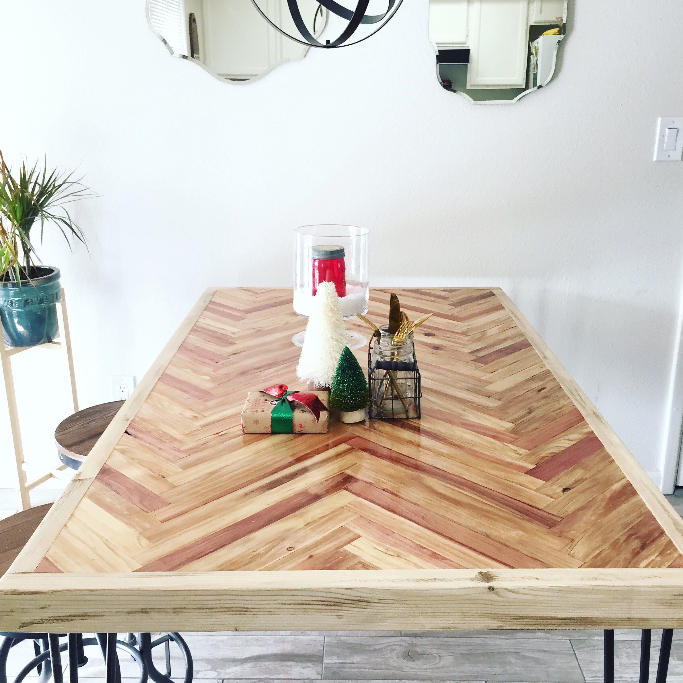New Vibrant Herringbone Lath Wood Dining Table W/ Black Hairpin Legs Mid  Century Modern Rustic Free Shipping!