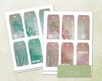 Spring Gift Tags-Printable Spring Tags-Season Gift Tags-Scrapbooking Printable Tags-Vintage Gift Tags-Favor Tags-Green Pink-Thank you Tags
