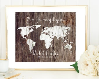 Rustic World Map Poster, Unique Bridal Shower Gifts, Personalized Wedding Gifts For Couple, Journey Map, 1st Anniversary Gift For Her