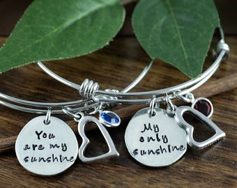 You Are My Sunshine Bracelet, My Only Sunshine Bracelet Set, Mother Daughter Gift Set, Gift for Daugther, Gift for Mom, Bangle Bracelets