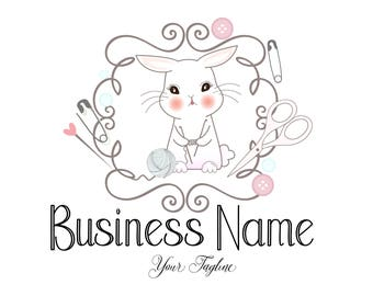 Custom logo design, bunny crochet yarn logo, rabbit sew knitting logo, cute sew crochet logo, crochet sewing or knitting logo with bunny