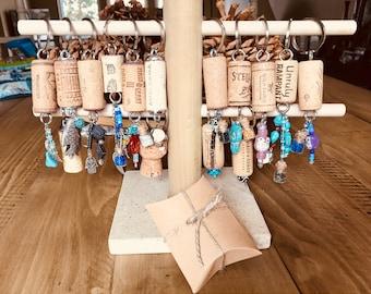 Natural cork wine keychains