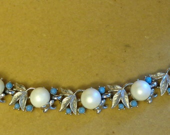 Sarah Coventry Signed Bracelet Faux Pearl & Turquoise 1960's  Alaskan Summer