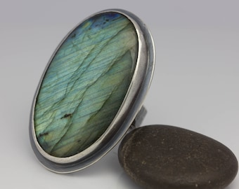 Labradorite Ring, Big Labradorite Ring, Sterling Silver Ring, Statement Ring, Le Chien Noir, Gift for Her, Gift for Him, Size 6.5
