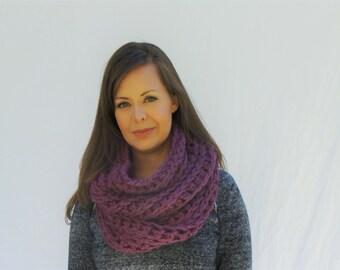 Chunky knit Cowl, Neckwarmer, scarf, infinity scarf / The Abington--Plum