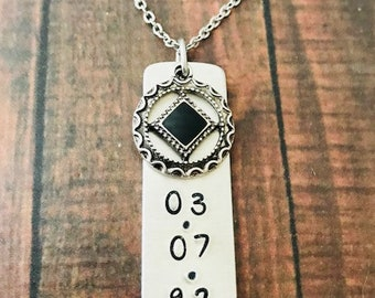 """NA Recovery Charm Pendant NECKLACE - 1/2"""" wide Metal - Personalized with Your Recovery Date - Strength - Motivational"""