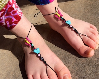 Barefoot Sandals, Pair 2, Black & Butterflies, One Size Fits Most