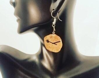 "Handmade Copper Earrings with Stainless Steel Hooks/ Earrings Hang 2"" Long"