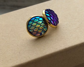 Purple/Blue Mermaid Scale Studs 12mm