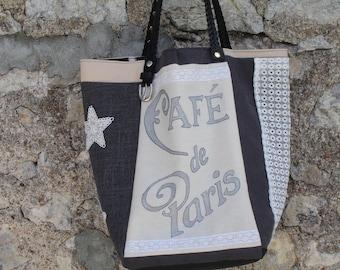 tote bag cotton canvas, lace, black, ecru, gray