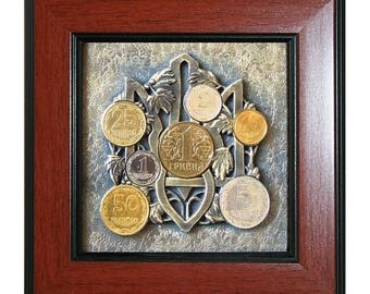 Collage-the trident with Ukrainian coins