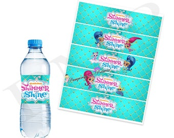 Simmer and Shine Water Bottle Labels, Printable Bottle Labels, Simmer and Shine Party Printable, Digital Bottle Labels