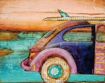 ART PRINT, Volkswagen print, vw art, beach art, surf print, beach decor, coastal art, ocean decor,mixed media painting,summer gift,All Sizes