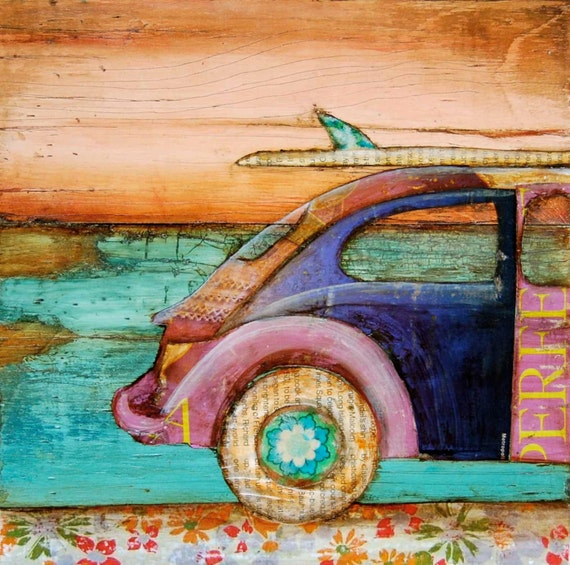 ART PRINT, Volkswagen print, vw art, beach art, surf print, beach decor, coastal art, ocean decor,mixed media painting,summer gift,All Sizes