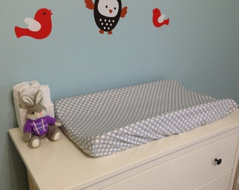 Changing Pad Cover | Gray Polka Dot