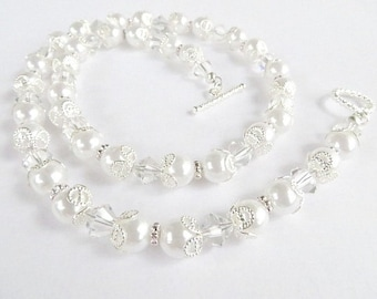 Necklace Wedding Necklace Bride Necklace Bridal Jewelry Pearl and Swarovski Crystal Bridesmaid Gift For Her Fine Jewelry Bling